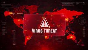 Нападение сигнала тревоги УГРОЗОЙ ВИРУСА предупреждая на карту мира экрана акции видеоматериалы