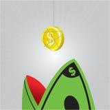 Нападение акулы доллара, вектор, иллюстратор Стоковое Изображение