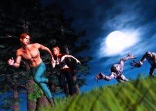 Нападение героев зомби бежать на всю жизнь иллюстрация вектора