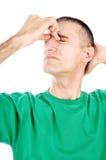 нападение имеет мигрень человека Стоковое Изображение RF