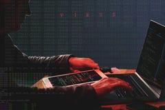 Нападение кибернетического преступления Стоковые Фото