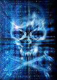 Нападение хакера с предпосылкой черепа Стоковое фото RF