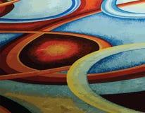 Напечатайте абстрактную красочную голубую, зеленую, желтую, красную предпосылку кольца круга свирли Стоковая Фотография RF