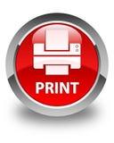 Напечатайте (значок принтера) лоснистую красную круглую кнопку Стоковые Изображения