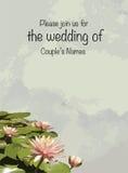Напечатайте карточки приглашения свадьбы с лилиями воды лотоса Стоковые Фотографии RF
