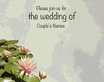 Напечатайте карточки приглашения свадьбы с лилиями лотоса/воды Стоковое Изображение RF