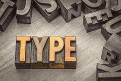 Напечатайте конспект слова в типе древесины letterpress Стоковые Изображения
