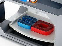 Напечатанный текст 3D на поверхности печатания принтера 3D иллюстрация 3d Стоковые Фото