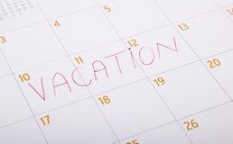 написанная каникула календара стоковое изображение