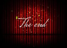 написанная машинка конца старая бумажная Театральная сцена с красными занавесами, отражением и confetti вектор пользы штока иллюс бесплатная иллюстрация