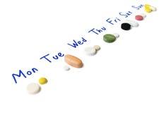 написанная неделя листа план-графика лечения бумажная Стоковое Изображение