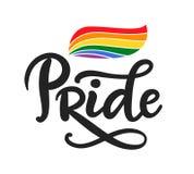 Написанная рука гомосексуалиста помечающ буквами плакат LGBT выпрямляет концепцию иллюстрация вектора