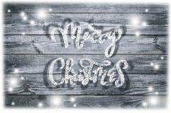 Написанная рукой фраза Нового Года Текст поздравительной открытки с снежинками Стоковая Фотография RF