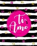 Написанная рукой фраза AMO TI Перевод: Я тебя люблю Итальянская популярная литерность для сообщения дня Валентайн иллюстрация вектора