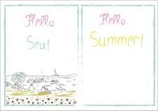 Написанное лето надписи здравствуйте!! Здравствуйте! море! Рисуя вектор щетки Стоковое фото RF