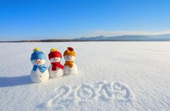 2019 написанное на снеге Усмехаясь снеговик с шляпами и шарфы стоят на поле с снегом Ландшафт с горами стоковые изображения rf