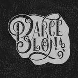 Написанное рукой имя города Каллиграфия литерности руки Барселона Ручной работы литерность вектора Стоковое Изображение RF