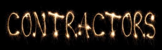 написанное слово sparkler контракторов Стоковое Фото