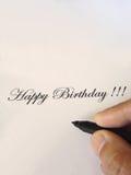написанное счастливое дня рождения Стоковое фото RF