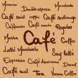 Написанные рукой имена кофе Стоковое Фото