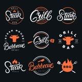 Написанный комплект руки помечающ буквами значки, ярлыки и логотипы иллюстрация вектора