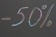 Написанный на листе бумаги 50%  стоковые фотографии rf