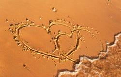 написанный песок сердца Стоковое Изображение RF