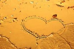 написанный песок сердца Стоковые Изображения RF