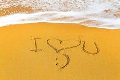 написанный песок сообщения влюбленности Стоковые Изображения