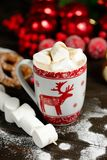 Напиток горячего шоколада или какао с печеньями циннамона и пряника в предпосылке деревянного стола snowon винтажной Стоковая Фотография