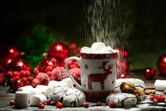 Напиток горячего шоколада или какао с печеньями циннамона и пряника в предпосылке деревянного стола snowon винтажной Стоковое фото RF