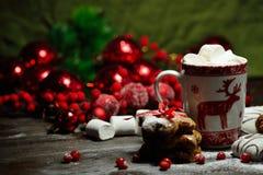 Напиток горячего шоколада или какао с печеньями циннамона и пряника в предпосылке деревянного стола снега винтажной Стоковое Фото