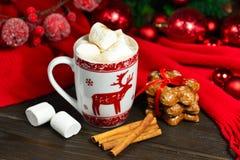 Напиток горячего шоколада или какао с печеньями циннамона и пряника в предпосылке деревянного стола снега винтажной Стоковое Изображение RF