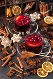 Напиток зимы горячий со специями и вкусными печеньями стоковое фото rf