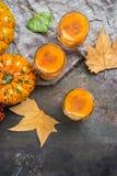 Напиток коктеиля питья спирта осени благодарения с тыквами и листьями Стоковое Фото