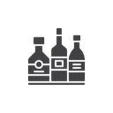 Напиток спирта разливает вектор по бутылкам значка, заполненный плоский знак, твердую пиктограмму изолированную на белизне иллюстрация вектора