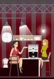 Напиток Coffe бизнес-леди отдыхает в кухне офиса иллюстрация вектора