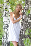 напольная милая женщина Стоковое Фото
