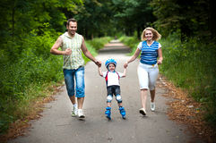 напольное семьи счастливое Стоковое Изображение RF