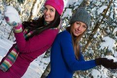 напольные женщины зимы молодые Стоковое Изображение
