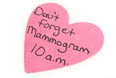 Напоминание маммограммы Стоковое Изображение