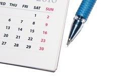 Напоминание организатора ручки календаря личное Стоковая Фотография