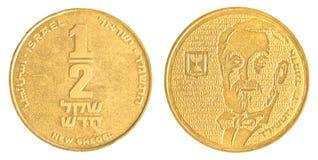 Наполовину израильская новая монетка Sheqel - вариант Эдмунда de Rothschild Стоковая Фотография