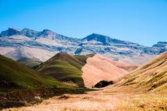 Наполовину позеленейте, наполовину коричневые поля травы в Южной Африке Стоковые Фотографии RF