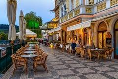 Напольный ресторан в Праге Стоковая Фотография RF