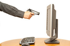 направленный пистолет s ПК человека руки Стоковые Фотографии RF