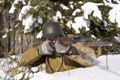 направляет воина винтовки армии красного Стоковое Изображение RF