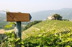 Направление подписывает внутри виноградники Стоковые Изображения
