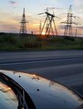 напряжение тока опоры электричества высокое Стоковое фото RF