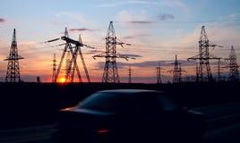 напряжение тока опоры электричества высокое Стоковое Изображение RF